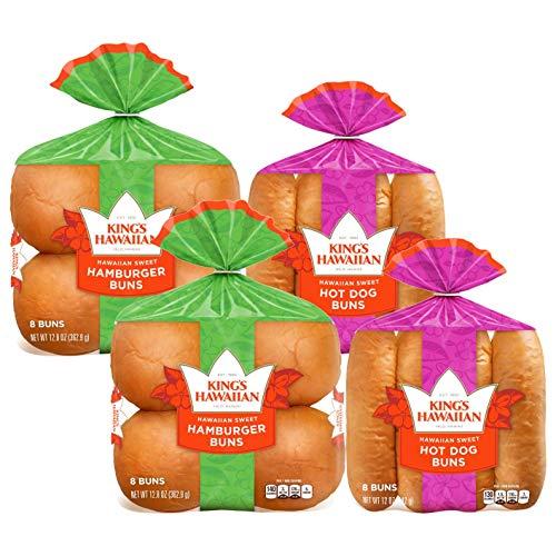 King's Hawaiian Original Hawaiian Sweet Buns - 2 Hamburger Buns, 2 Hot Dog Buns Pack