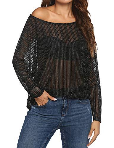 Zeagoo Women's Crochet Blouse Batwing Long Sleeve Shirt Lace Sheer Tops Black Small