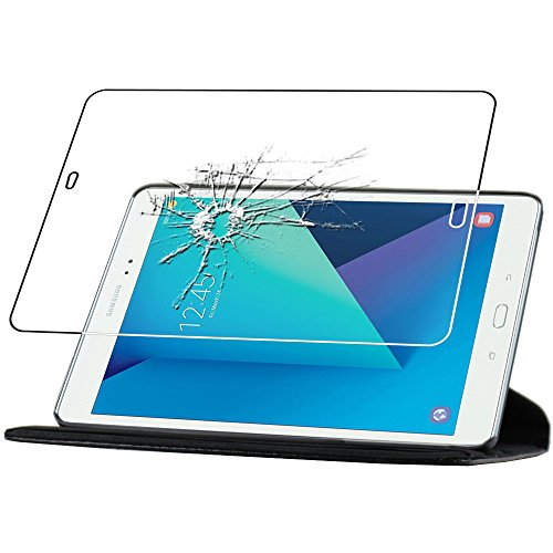 ebestStar - Cover Compatibile con Samsung Galaxy Tab S3 9.7 SM-T820, SM-T825 Custodia Protezione Pelle PU con Supporto Rotazione 360, Nero + Vetro Temperato [Apparecchio: 237.3x169x6mm, 9.7'']