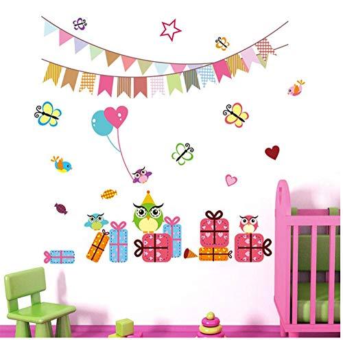 JHLP Cartoon Kinderen Verjaardag Partij Vlinder uil Vogel Decoratie Muurstickers Kids Kamers Decals Ballon Vlinder Kwekerij Kamer 30x90cm