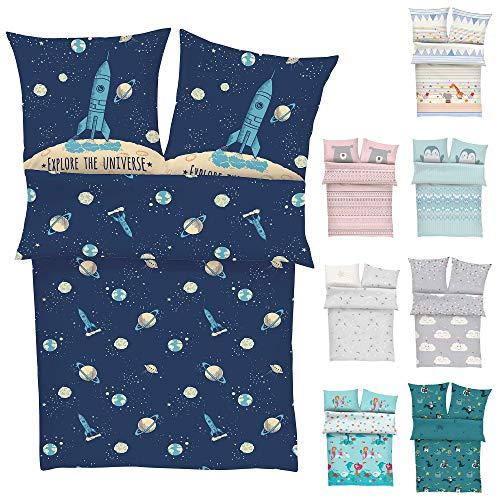 s.Oliver Bettwäsche Rakete 135x200 cm - Kinderbettwäsche blau 100% Baumwolle, Astronaut und Universum, Bettwäsche 2 teiliges Set aus Deckenbezug 135x200cm und Kissenhülle 80x80cm, Reißverschluss