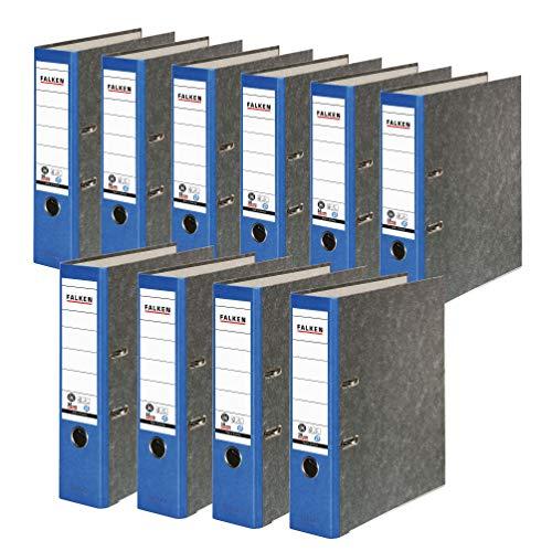 Preisvergleich Produktbild Original Falken 10er Pack Recycling-Ordner Wolkenmarmor. Made in Germany. 8 cm breit DIN A4 blauer Rücken Ringordner Aktenordner Briefordner Büroordner Pappordner CO2-Neutral Blauer Engel