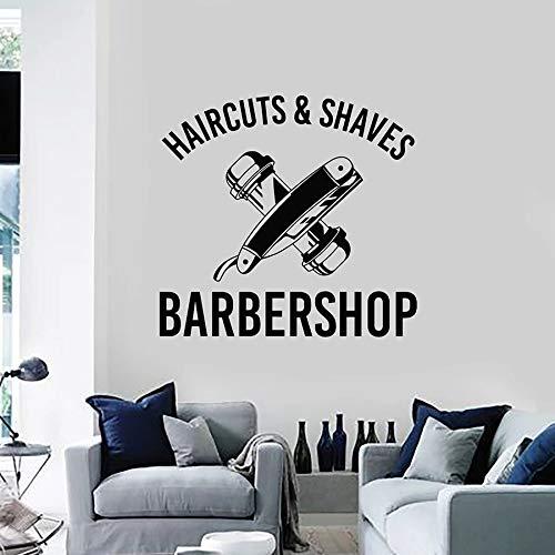 Etiqueta de la pared Arte Etiqueta de la pared Corte de pelo Afeitado Peluquería profesional Hombres Decoración del cabello Vinilo | Decoración de arte de fondo de TV
