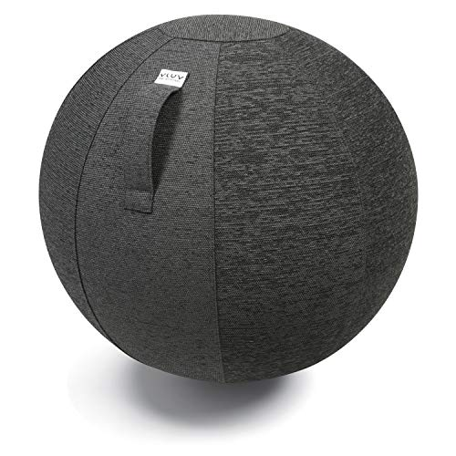 Ballon-siège VLUV STOV, siège ergonomique pour le bureau et la maison, couleur: Anthracite (gris foncé), Ø 60cm - 65cm, Tissu d'ameublement de qualité supérieure, robuste et indéformable avec une poignée de transport