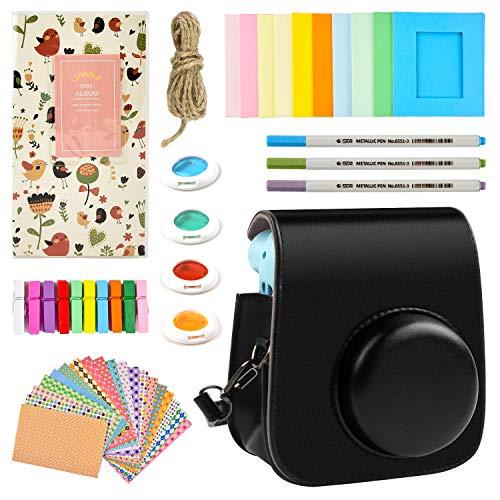 Funda y accesorios compatible con Fujifilm Instax Mini 11 Cámara de película instantánea, paquete incluye álbumes, filtros, pegatinas y otros accesorios. (negro)