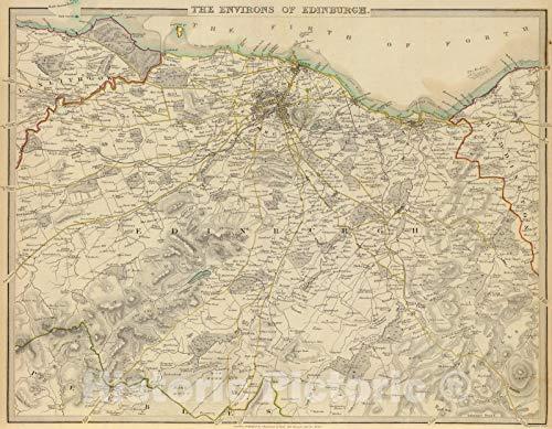 Historic Wall Map : Scotland, Edinburgh Region (Ireland) 1838 Edinburgh Environs, Vintage Wall Art : 30in x 24in