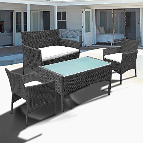 WIS Hengda® Poly Rattan Gartenmöbel Sitzgruppe Garnitur Gartengarnitur Sitzgarnitur Essgruppe (Schwarz)