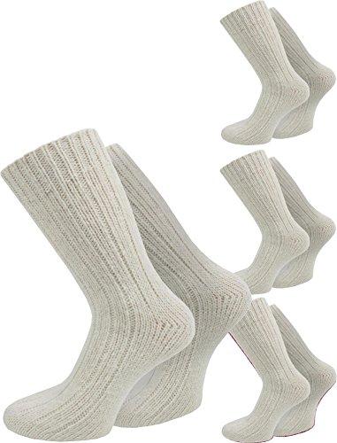 normani 4 Paar Extrawarme Dicke Schafwollsocken wie Handgestrickt (waschmaschienenfest) Farbe Natur Größe 35/38
