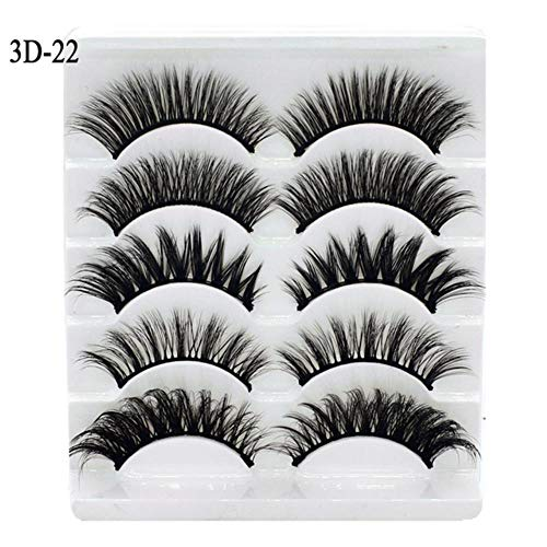 KADIS 5Pairs 3D Eyelashes False Lashes Natural Handmade Volume Soft Eye Lashes Fake Eyelash Extension Makeup,3D22