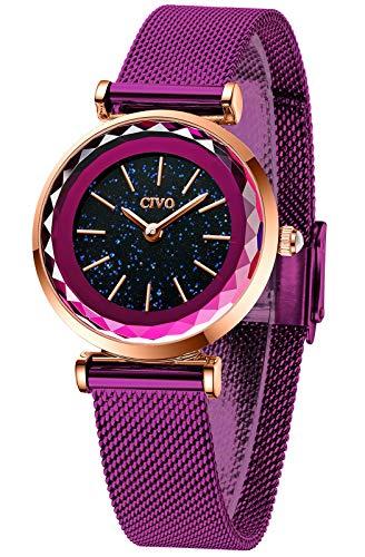 CIVO Reloj Mujer Púrpura Cielo Estrellado Reloj Mujer Acero Inoxidable Delgado Minimalista Elegante Relojes de Pulsera Damas Niñas Impermeable Analogico Casual Cuarzo Sencillo