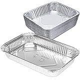 [25 Pack] Rectangular 4 lb 64 oz 12.5 x 8.5 x 2.25' Disposable Aluminum Foil Pan Roasting Baking Tray Containers, Cake Cassarole Hot Cold Food Freezer Oven Safe