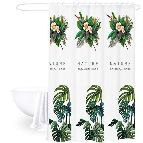 THETAG douchegordijn, botanische artistieke palmbladeren patroon badgordijn, waterdicht badkamer gordijn met haken, schimmel en meeldauw | 100% polyester (71 x 71 inch)