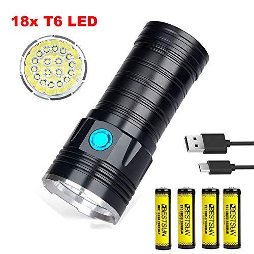 Torcia Ricaricabile USB Torcia LED Potente Professionale con 18x XML T6 LED, LUXNOVAQ 18000 Lumen Super Luminosa Torcia Tattica Impermeabile Torcia a Mano con 4 Batterie e 3 Modalità per Campeggio