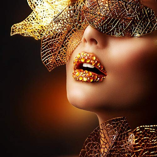 Canvas schilderij decoratie, Nordic Modern Gold Lips Fashion Sexy Vrouwen olieverfschilderij Pop Art Posters en Prints Wall Picture for Living Room Decor van het Huis