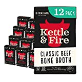 Kettle and Fire Classic Beef Bone Broth, Keto, Paleo, and Whole 30 Approved, Gluten Free, High in Protein and Collagen, 12 Pack