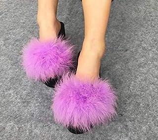 7cm, 6 : Hot Fur Flip Flops Women Ostrich Home Slippers Female Sweet Wedges Sandals Beach Shoes Autumn Pantufa Platform Fashion Chinelo