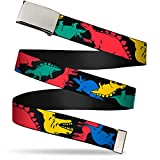 Buckle-Down Web Belt, Dinosaurs Black/Multi Color, 1.0