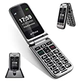 AT&T 3G Unlocked Senior Flip Cell Phone,ARTFONE G6 4 WCDMA Bands Support,SOS Emergency Key,2.4Inch Colour LCD Display Big Button Easy to Use Elderly Flip Phone with Charging Dock(Iron Grey)