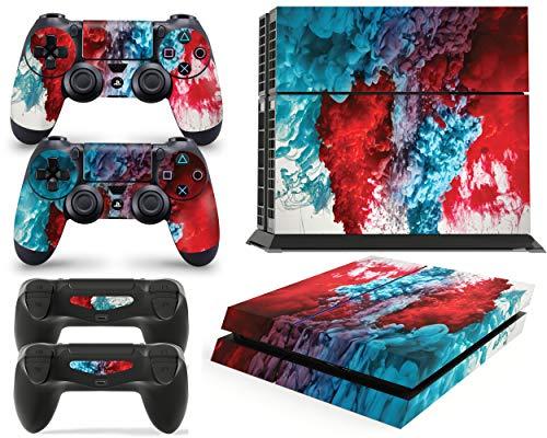 giZmoZ n gadgetZ GNG PS4 Konsolen-Gehäuseaufkleber, Motiv: Colour Explosion, inklusive 2er-Set mit Aufklebern für Controller