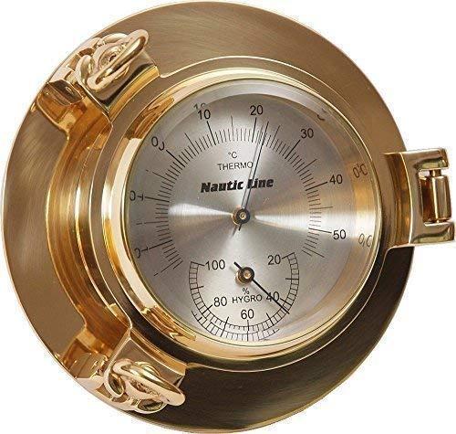 linoows Comfortmeter im Bullauge, Hygrometer und Thermometer Messing poliert Ø 14 cm