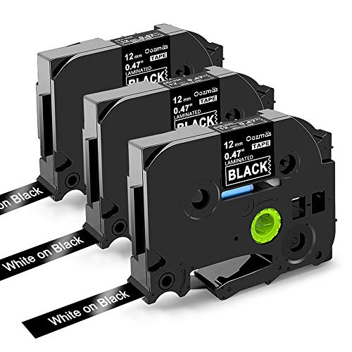 Nastri Oozmas Compatibile In sostituzione di Brother TZe Tape 12mm 0.47 TZe-335, 12mm x 8m, Compatibile Brother P-touch PT-H100R PT-1005 PT-1010 PT-2030, (Bianco su Nero, confezione da 3)