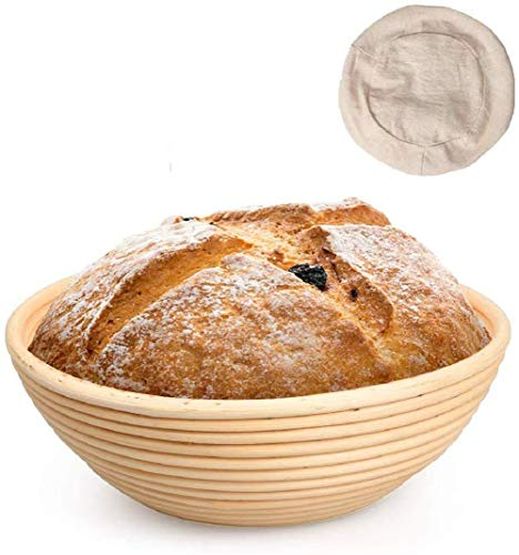Rattan Fermentation Brotschale, Oval Bread Proofing Basket, 25X8X15CM Großer Banneton Proving Basket Natürlicher Rattan Sauerteig Proving Basket für professionelle Hausbäcker (Runden2 , 22cm*8cm )