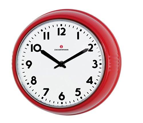 Zassenhaus 72723 Retro Wand-Uhr, Durchmesser 24 cm, rot