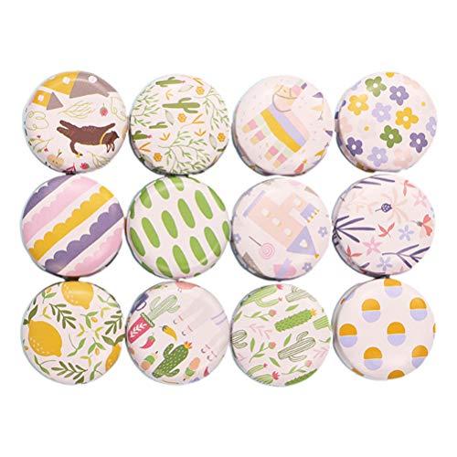 SUPVOX - 12 mini scatole di latta vuote in metallo, rotonde, in stile vintage, riutilizzabili, per tè, caramelle, candele fai da te, bomboniere di matrimonio 4 x 4 x 2.2cm Cartoon