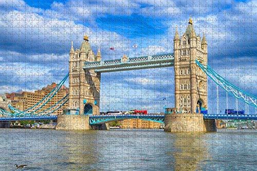 Nkcolehnhy Puzzle 1000 stück Puzzle Erwachsene Tower Bridge, England, London Erwachsene Kinder geschicklichkeitsspiel Puzzle unmögliche sehr