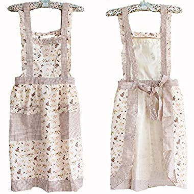 Hyzrz Stylish Flower Pattern Women's Fashion Floral Cotton Chef Cooking Cook Apron Bib with Pockets 9#