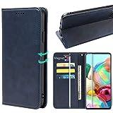 HYMY Étui pour Sony Xperia 1 III Coque + Verre Trempé - Calfskin PU Leather Inner TPU Case/Strong...
