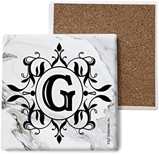 SJT ENTERPRISES, INC. Initial/Letter Marble Texture Coasters -G Absorbent Stone Coasters, 4-inch (4-Pack) (SJT96812)