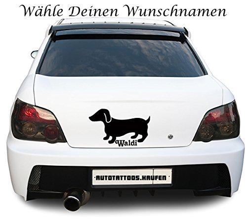 Autotattoo Autoaufkleber Dackel Dachshund Wunschnamen Name Creme KLEIN