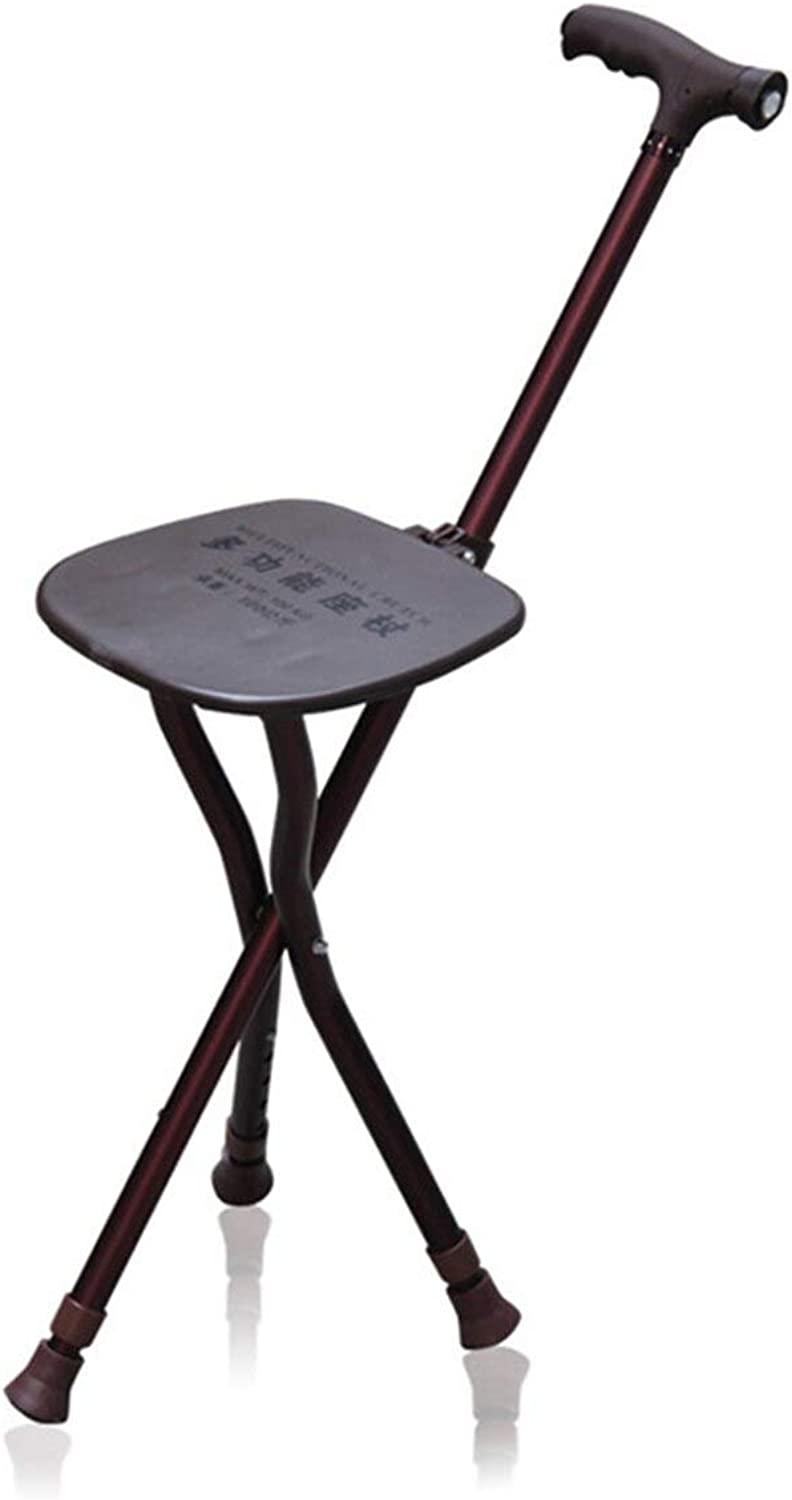 Elderly Folding Portable Travel Cane Retractable Lightweight Walking Stick Seat Camp Stool Adults Chair Multifunctional Three-Legged with Night Lighting