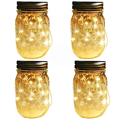 Mason Jar Solar Lights Lanterns, 4 Pack 30 LEDs Fairy Firefly Led String Lights with Glass Mason Jar,Best for Wedding Garden Patio Outdoor Solar Powered Hanging Lanterns(Jars & Hangers Included) (4)