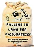 Ovium, Palline per asciugatrice, Palline ammorbidente Naturale, 6 pz, 100% riutilizzabili in Lana Neozelandese, Eliminano i Pelucchi, Pieghe, Riducono Il Tempo di Asciugatura