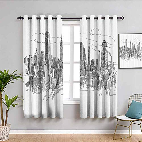 Nueva York Farmhouse cortina dibujado a mano NYC paisaje urbano turismo viaje centro industrial ciudad moderna diseño ciudad muebles protectores negro blanco W108 x L84 pulgadas