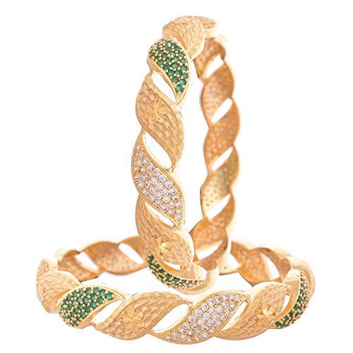 Ratnavali Jewels CZ Zirkonia Gold polnischen roten Diamant Bollywood indischen Armreifen Kada Schmuck Frauen