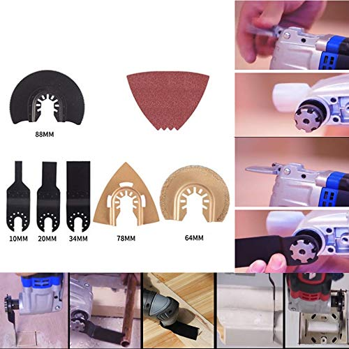 15-delige multifunctionele zaag-slijpmesenset, professionele houtsnijmachine Universele oscillerende messen Accessoires Gereedschapsset voor schuren, renoveren en schrapen