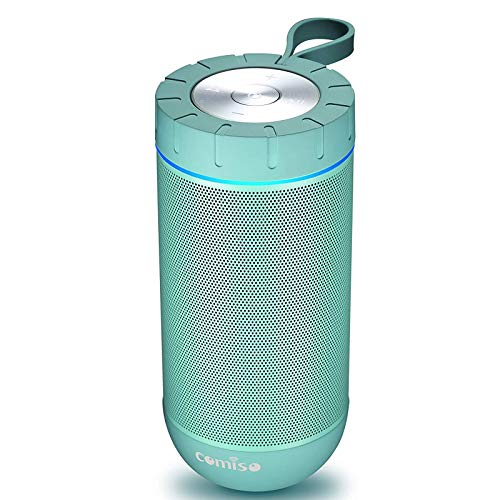 COMISO Waterproof Bluetooth Speakers Outdoor Wireless Portable Speaker with 24 Hours Playtime Superior Sound for Camping, Beach, Sports, Pool Party, Shower (Mint)