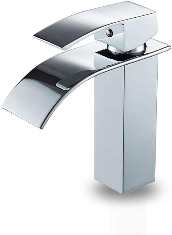 YHNUJMIK Quadratischer Wasserhahn Becken Wasserhahn Wasserfallhahn mit breitem Mund Chrom Kupferlegierung Keramikspule Heisse und kalte Dualsteuerung Badezimmer Waschbecken