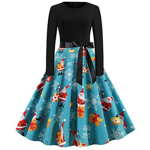 Damen Abendkleid Cocktail Dres Party Kleid Vintage Weihnachten Kleider Rundhals Mode Muster Langarm Casual 1950er Jahre Hausfrauen Prom Swing Kleid Festival Karneval Kostüm Freizeit Kleid Blau M