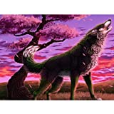 5D Diamond Painting Wolf Powder Tree Full Drill by Number Kits for Kids Adults Paint with Diamonds Arts Crystal DIY Cross Stitch Home Wall Decor Craft (16x20 inch)