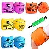QICI 9 Pack Arm Float Rings Inflatable Sleeves,PVC Arm Floaties Inflatable Swim Arm Bands Floater Sleeves Swimming Rings
