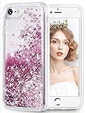 wlooo Funda para iPhone 6 6S 7 8, Funda iPhone SE 2020, iPhone 8 Funda, iPhone 6 Funda, Glitter liquida Cristal Silicona Protector Suave TPU Bumper Case Brillante Arena Movediza Carcasa (Oro Rosa)