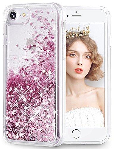 WLOOO Cover per iPhone SE 2020, iPhone 6/6s/7/8 Cover, Glitter Bling Liquido Custodia Sparkly Luccichio Ragazze Donne TPU Silicone Protettivo Morbido Brillantini Quicksand Case (Oro Rosa)