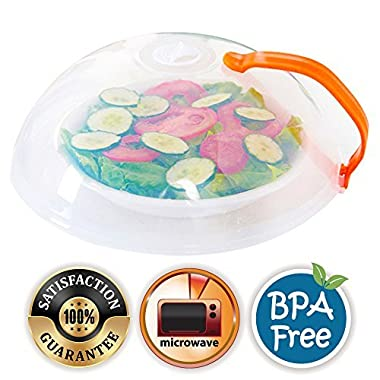 Eutuxia Microwave Cover. Perfect for Covering Plates, Bowls, and Cups to Prevent Food & Liquid Splatters While Microwaving. Lid with Handle & Adjustable Steam Vent Holes. BPA Free & Dishwasher Safe.