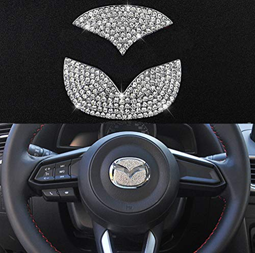 TopDall Steering Wheel Bling Crystal Shiny Diamond Accessory Interior Sticker for Mazda