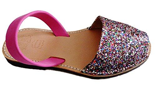 Auténticas Avarcas menorquínas, Abarcas, Albarcas, Sandalias (44, Glitter Multicolor)