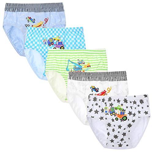 RAISEVERN Jungen Unterwäsche Dinosaurier Truck Muster Baby Kleinkind Boxer Slips Shorts 5er Pack Kinder Baumwolle Unterhosen 2-13 Jahre